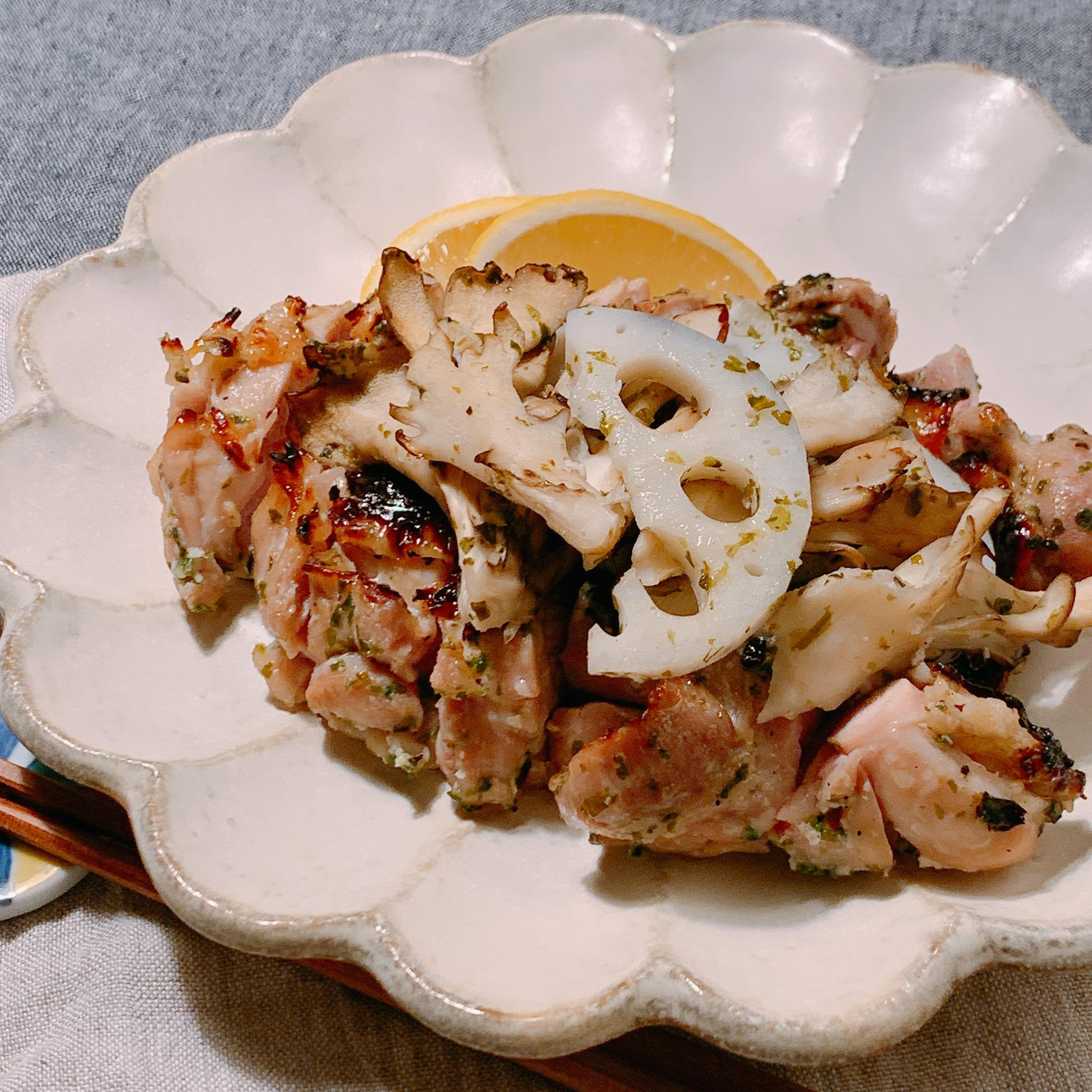 塩麹×青海苔 鶏もも肉と季節野菜のグリル