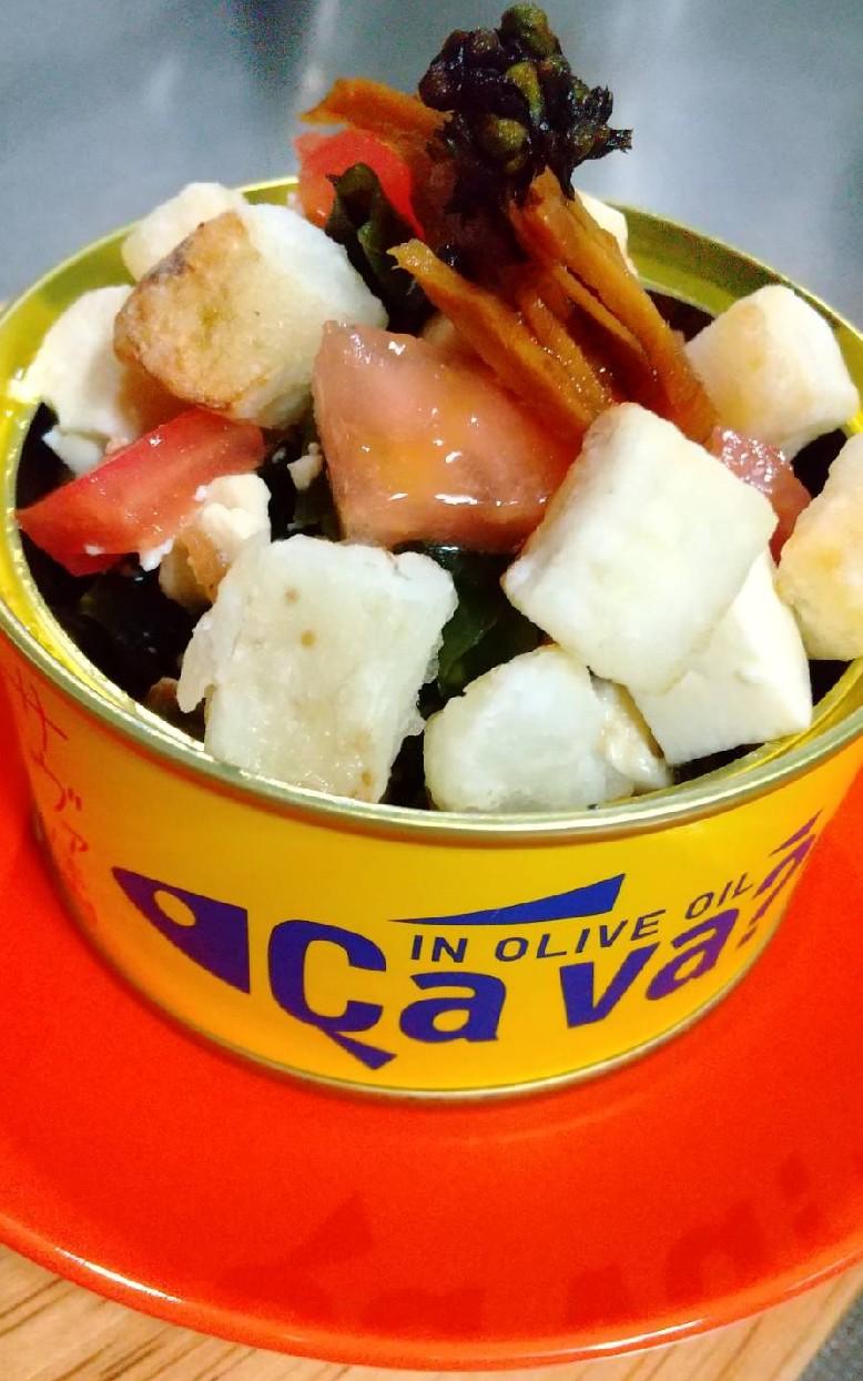 カリカリ大和芋とサバオイル漬け缶のサラダ