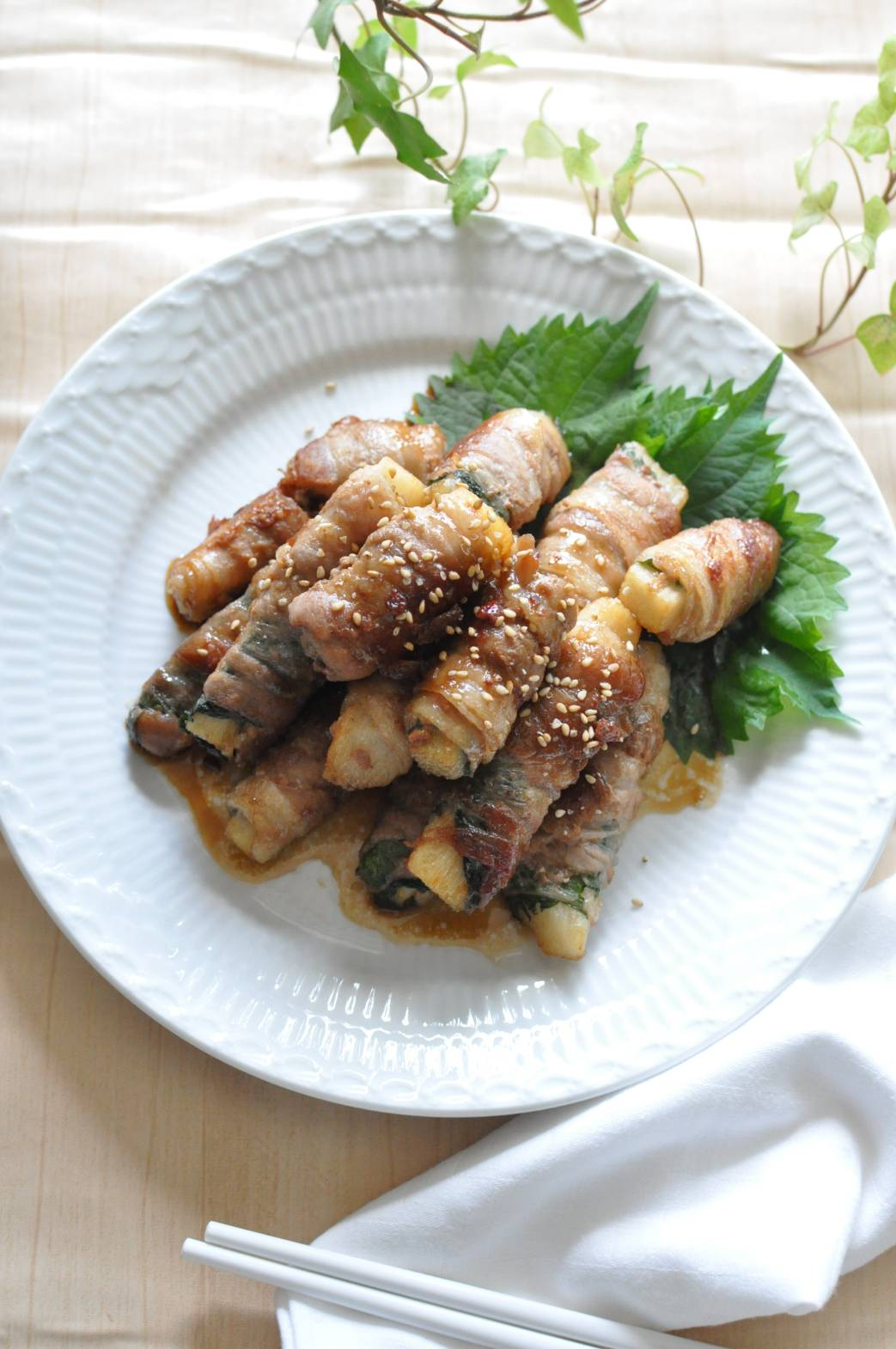大和芋の肉巻き照り焼き