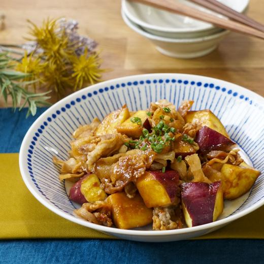さつま芋と豚バラ肉の胡麻味噌炒め