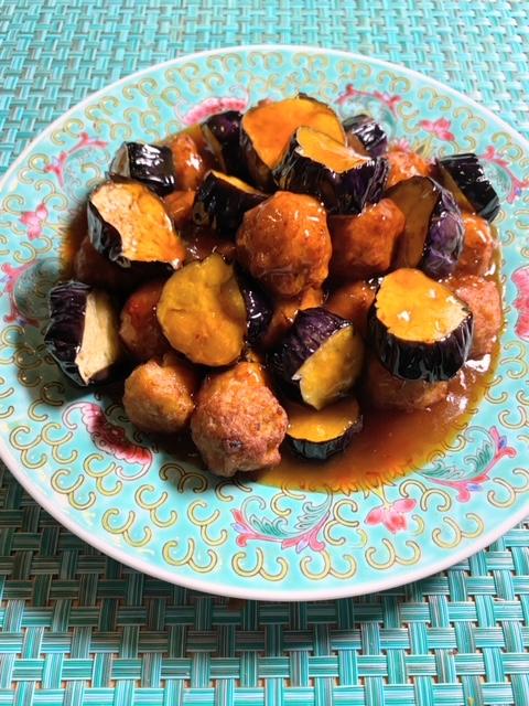 茄子と肉団子のピリ辛甘酢